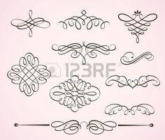 Conjunto de ilustraci�n vectorial de remolinos florece elementos florales decorativos  photo