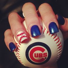 Chicago Cubs baseball nails ❤ Going to the game today and needed a cute nail design Mazur Mazur Thoe Leissner Baseball Nail Designs, Baseball Nail Art, Sports Nail Art, Cubs Baseball, Baseball Crafts, Royals Baseball, Cardinals Baseball, Nail Polish Designs, Cute Nail Designs