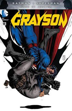 Grayson #18 Batman vs. Superman variant cover by Stephen Platt *
