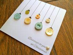 On Sale - Christmas Card, Handmade Christmas Bauble Button Ornament Card, Holiday Card, Xmas Card, Homemade Christmas, Christmas Diy, Christmas Countdown, Christmas Colors, Merry Christmas, Button Ornaments, Button Cards, Christmas Baubles, Creative Cards
