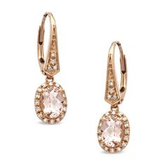 I've tagged a product on Zales: Oval Morganite and 1/8 CT. T.W. Diamond Earrings in 10K Rose Gold