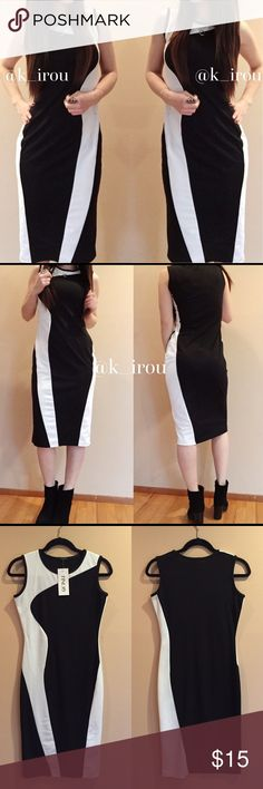 "Black and whit sleeveless midi dress NWT midi party dress. Very simple black and white color. No zipper or pockets. Model is 5'2"" 115lbs wearing this size S dress. ❌trade ❌hold ✅bundle discount Finejo Dresses Midi"