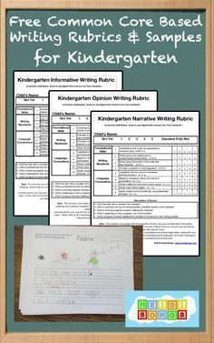 Common Core Based Writing Rubrics and Writing Samples For Kindergarten- Free!