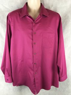 Van Heusen 18 34/35 XL Lux Sateen Button Front Fushia Dress Shirt Regular Fit #VanHeusen