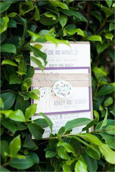purple rustic wedding invite by Wide Eyes Design