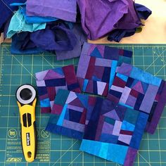 More play with scraps today—cool blues and purples this time! Quilting Tutorials, Quilting Projects, Quilting Designs, Quilting Tips, Machine Quilting, Scrappy Quilts, Mini Quilts, Crumb Quilt, Scrap Quilt Patterns