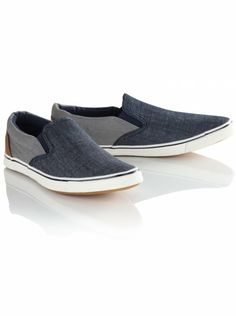 Slip-on plimsolls for men featuring denim and PU panels, a padded opening, elasticated gusset inserts and vulcanized soles. Go Blue, Plimsolls, Indigo, Trainers, Vans, Slip On, Denim, Stylish, Sneakers