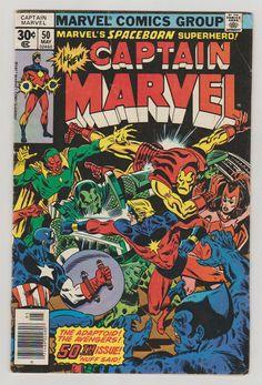 Captain Marvel Vol 1 50 Bronze Age Comic by RubbersuitStudios #captainmarvel #avengers #comicsforsale