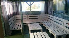 Large Pallet Sectional Sofa Set - Perfect For Parties Meble z palet na zamówienie. Wykorzystujemy głównie europalety