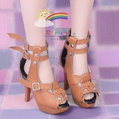 "Straps Studs High-Heel Platform Sandals Shoes Mud Brown for For 22"" Tonner American Model Dolls"