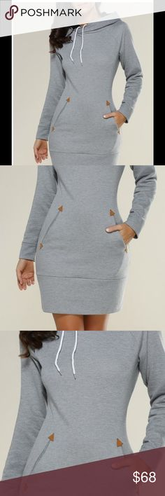 Pre-order  Long Sleeve mini hoodie dress Preorder now in comment section. Sizes available are: small, medium, large, xlarge. Will be arriving end of November. Super comfy. Material is polyester. Dresses Mini