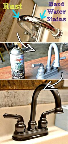 Remodel your bathroom starting from a faucet that has get spray painting. | 30 Low-Budget Makeovers You Could Do With Spray Paint