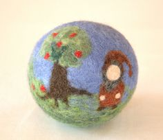 "Wool Felted Ball for Children ""Gnome and apple tree"" on Etsy, $38.40 AUD"