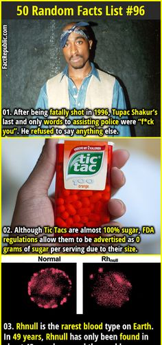 """1. After being fatally shot in 1996, Tupac Shakur's last and only words to assisting police were """"f*ck you"""". He refused to say anything else. 2. Although Tic Tacs are almost 100% sugar, FDA regulations allow them to be advertised as 0 grams of sugar per serving due to their size."""