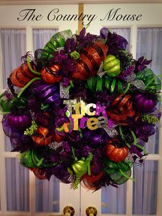 Halloween pre-lit wreath by Gail Eddy Pre Lit Wreath, Crafting, Wreaths, Country, Halloween, Home Decor, Homemade Home Decor, Door Wreaths, Rural Area