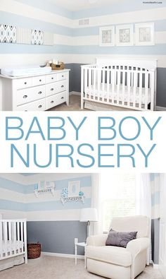 7e84e1611ee Baby boy nursery design. Love the gray and blue striped walls!! Παιδικοί  Σταθμοί