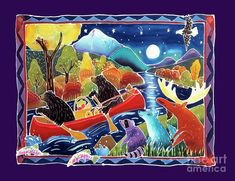 Canoe Painting - Full Moon Paddle by Harriet Peck Taylor