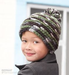 Spiral Hat, free pattern from Bernat | Yarnspirations ~ Worked in HDC in continuous spiral, no seam. Sizes from toddler to adult. (shown in super-bulky weight yarn) #crochet
