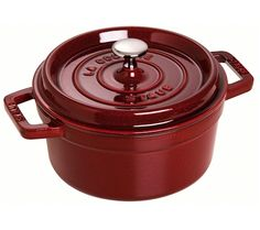 Staub Round Cocotte, dark red cast iron pot