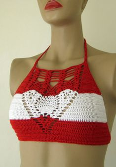 FREE SHIPPING Austria Flag Crochet Halter Top  by formalhouse