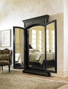 Hooker Furniture Grandover Floor Mirror - x in. - The Grandover Floor Mirror brings the timeless style of European boudoirs into your modern home. This captivating standing mirror features a sturdy fr. 3 Way Mirrors, Mirror Mirror, Floor Mirrors, Three Way Mirror, Closet Mirror, Closet Doors, Home Bedroom, Bedroom Decor, Master Bedroom