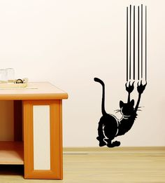 Cat Scratch Vinyl Wall Decal Art by Stickyzilla Cat Colors, Wall Decal Sticker, Vinyl Wall Stickers, Vinyl Art, Cat Art, Decoration, Wall Decor, Interior Design, Vegan Breakfast