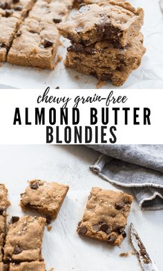 Almond Butter Blondies that are actually healthy-ish! Gluten free and keto friendly. This the BEST chocolate chip cookie bar recipe! Chewy Chocolate Chip Cookies, Chocolate Pies, Homemade Chocolate, Chocolate Recipes, Gourmet Recipes, Sweet Recipes, Baking Recipes, Bar Recipes, Easy Desserts
