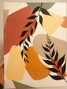 original Canvas Abstract piece, With plant detailing. Wall Painting Decor, Mural Wall Art, Diy Painting, Mini Canvas Art, Canvas Wall Art, Minimalist Artwork, Acrylic Painting For Beginners, Wall Drawing, Leaf Art