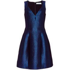 Prabal Gurung Molded Seam Dress (€2.160) ❤ liked on Polyvore featuring dresses, blue sheath dress, structured dress, sleeveless sheath dress, prabal gurung dress i sheath dress