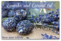 Lavender and Coconut oil bath bon bons, so easy to make and only needs 2 ingredients! #lavendercrafts #coconutoilrecipes #bathbombs