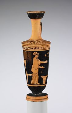 Attributed to the Carlsruhe Painter | Terracotta lekythos (oil flask) | Greek, Attic | Classical | The Met