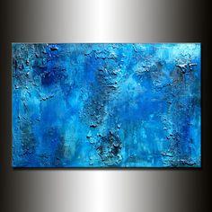 Original azul gruesa textura pintura por newwaveartgallery en Etsy