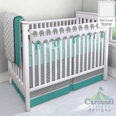 Crib bedding in Solid Emerald Turquoise, White and Gray Polka Dot, Silver Gray Silk, Solid Seafoam Aqua, Cloud Gray Mini Swiss Cross, White and Gray Elephants. Created using the Nursery Designer® by Carousel Designs where you mix and match from hundreds of fabrics to create your own unique baby bedding. #carouseldesigns