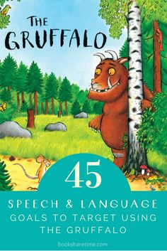 Check out all the speech and language goals to target in speech therapy using The Gruffalo by Julia Donaldson and Axel Scheffler Gruffalo Activities, Speech Therapy Activities, Language Activities, Book Activities, Nursery Activities, Activity Books, Educational Activities, Toddler Activities, Speech Language Pathology