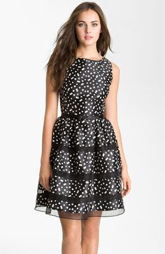 Belted Taffeta Fit and Flare Dress