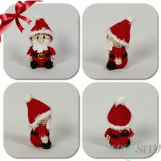 Kerstmannetje in kerstbal, gratis haakpatroon - Peggy Sew Knit Christmas Ornaments, Christmas Toys, Christmas Knitting, Christmas Projects, Crochet Santa, Free Crochet, Crochet Stitches For Beginners, Diy Weihnachten, Xmas Decorations