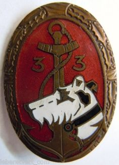 33 ° RIC 1939-1940 Colonial Infantry Badge punch AB authentic WWII
