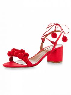 These Red Tie Up Pom Pom Block Sandals are an easy way to pop of sizzling color to any summer style - get even more style and shopping inspiration on http://jojotastic.com/shop-my-favorites/