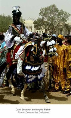 Royal cavalier and horse dressed in ceremonial finery during the Sallah celebrations in the Hausa city Katsina, Nigeria