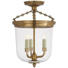 Merchant Semi Flush Hand-Rubbed Antique Brass with Clear Glass