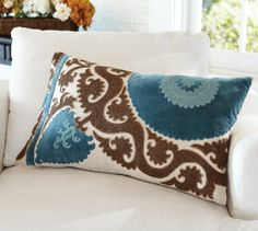 Pottery Barn -Ellie Suzani Applique Embroidered Lumbar Pillow Cover | Pottery Barn