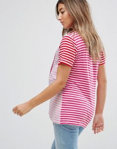 ASOS Maternity NURSING T-Shirt with Wrap Overlay in Pink Stripe - Pink