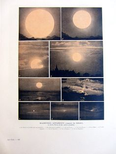 Antique astronomy sun print, 1923 fine color lithograph of apparent diameters of the sun, physics plate illustration