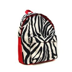 A touch of red really gives this zebra backpack a fun punch of color!