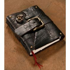 SteamPunk Journal Black Leather Buckle closure Blank Notebook Diary Sketchbook found on Polyvore featuring polyvore, home, home decor, stationery and books