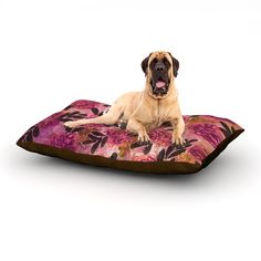 "Ebi Emporium ""Grunge Flowers II"" Pink Floral Dog Bed"