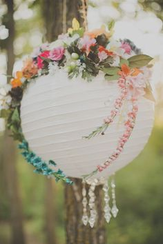 beautifully decorated paper lantern in white