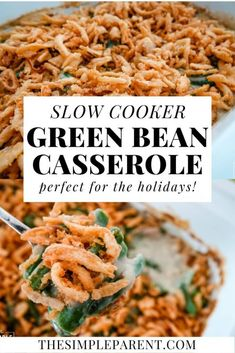 Slow cooker green bean casserole is one of the easiest ways to make this traditional dish for Thanksgiving and Christmas meals! New Year's Desserts, Cute Desserts, Slow Cooking, Big Meals, Easy Meals, Slow Cooker Recipes, Crockpot Recipes, Cooking Recipes, Vegan Candies