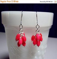 30% Off SALE thru Wedn Hot Pink Orange Catseye Cluster Drop Earrings, Mom Sister Grandmother Jewelry Gift, Christmas Gift, Pretty