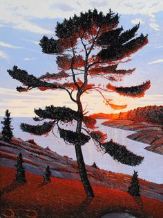 """""""Evening Jack Pine"""" - painting by Mark Berens at Crescent Hill Gallery"""